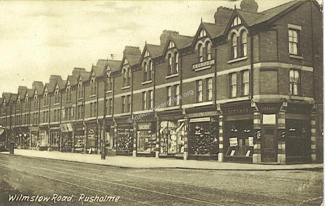 Wilmslow Rd shops 1918  looking north