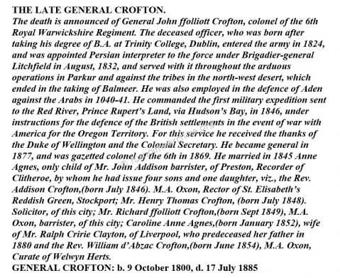 The late General Crofton obituary