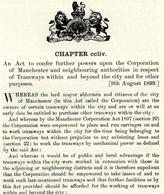 1899 Manchester Trams Act (extract)