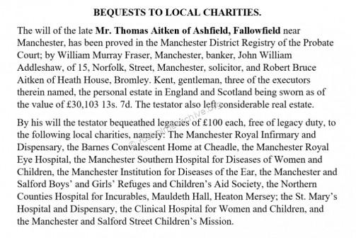 Thomas Aitken Charitable legacies