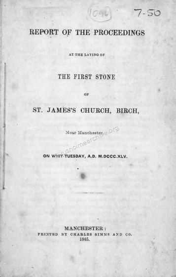 Foundation Stone, Birch 1845