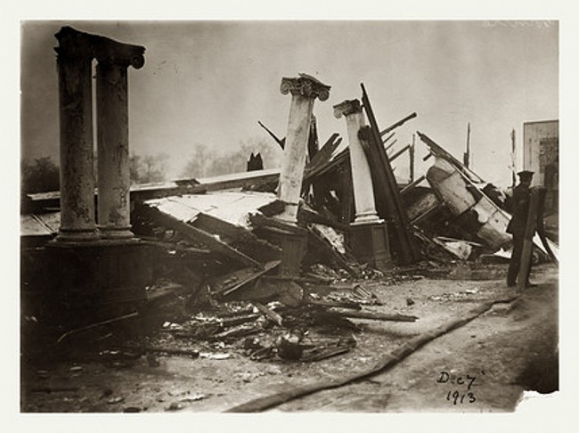 Remains of Hall after arson attack