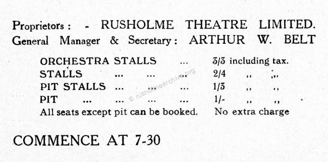 Rusholme Rep price list