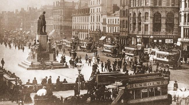 Horse drawn trams circa 1900 Piccadilly