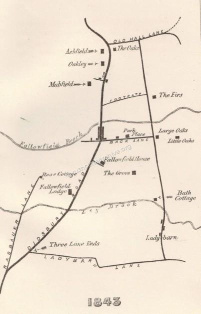 1843 Fallowfield map (Mrs Williamson).
