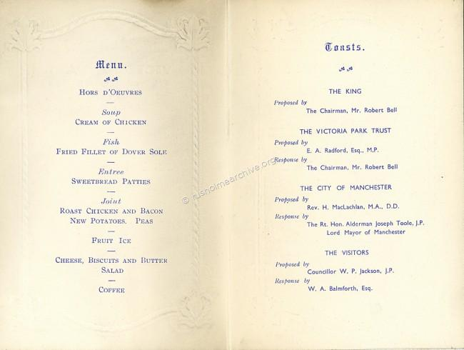 Centre Page 1937 Centenary Dinner Menu