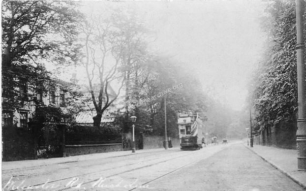 Wilmslow Road 1906, Platt Abbey on left