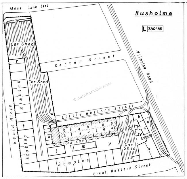 Plan of Rusholme Tram depot