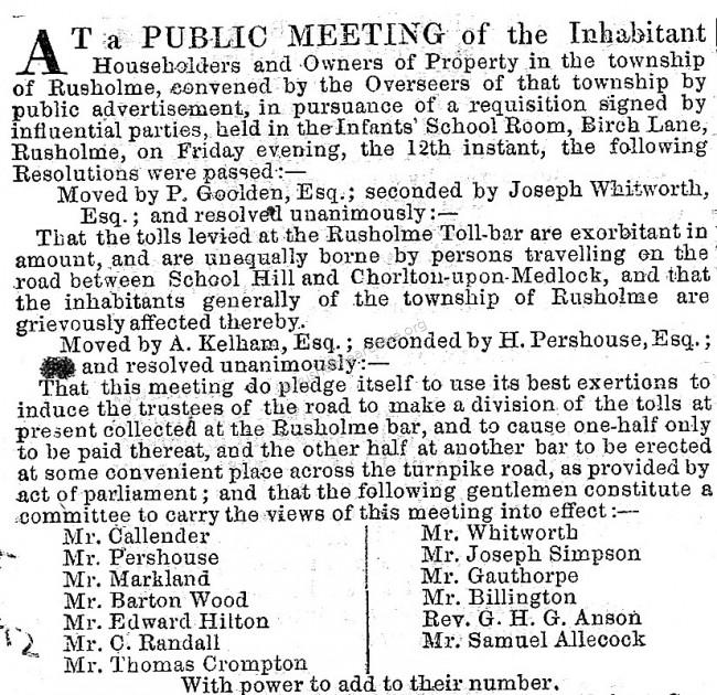 Turnpike Trust meeting 1852