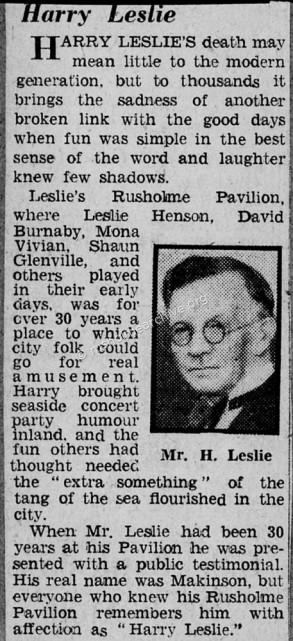 Harry Leslie Obituary