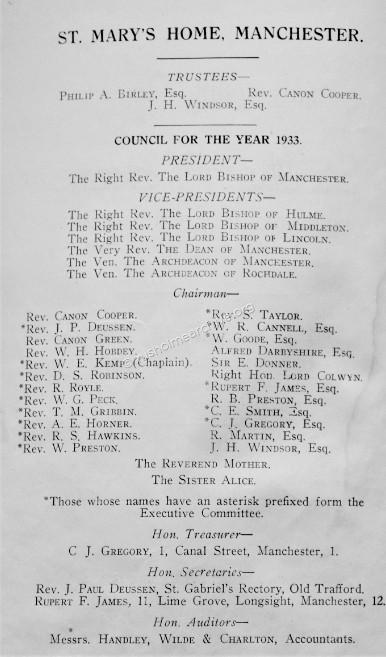Council Members for the year 1933