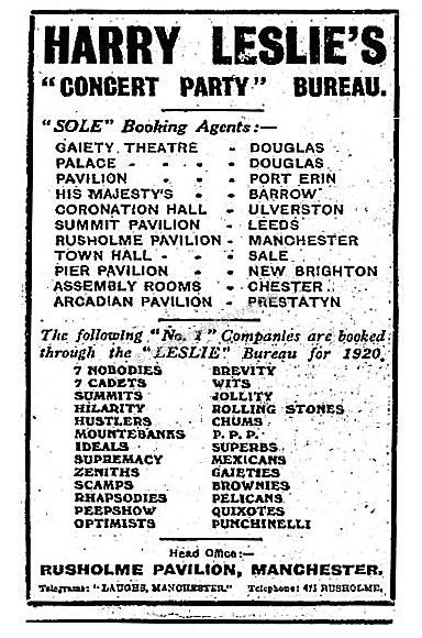 Harry Leslie Booking  Agency advert