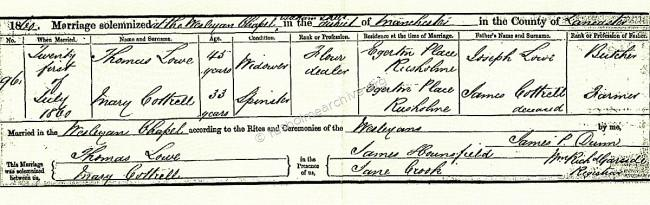 Marriage certificate, Thomas and Mary Lowe